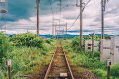Real Background, Japanese Countryside, Railroad Tracks, Art Ideas, Nostalgia, Blood, Scenery, Comic, Landscape