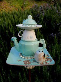 AQUA MORNING MIST - Garden Art, Birdfeeder, Repurposed, Garden Totem, Garden Stake, Garden Sculpture, Yard Art, Teapot Art, Aqua, Birds