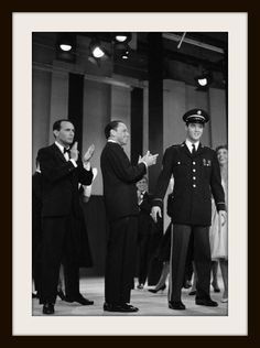 Frank Sinatra hosts the Welcome Home Elvis special from the Fontainebleau Hotel — with Joey Bishop, Frank Sinatra, ELVIS PRESLEY and Nancy Sinatra.………………..For more classic 60's and 70's pics please visit and like my Facebook Page at https://www.facebook.com/pages/Roberts-World/143408802354196