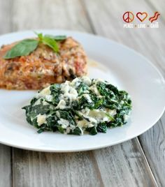 Cheesy Garlic Creamed Spinach - From The Primal Low Carb Kitchen Cookbook - I would try this with 1/2 - 3/4 c heavy cream instead of 1 cup to save some calories