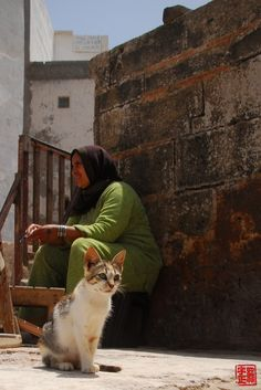 Cat and Woman in Morocco
