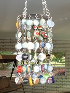 Beer & Spirits Bottle Cap Wind Chime. I look forward to the wind blowing as the little twinkling sounds the bottle caps make are music to the ears.