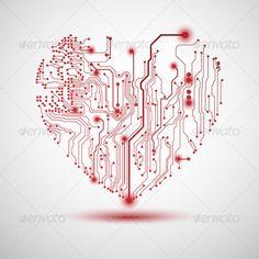 Sfondo con cuore su schema elettrico - Heart electric board - Buy this stock vector and explore similar vectors at Adobe Stock Web Design, Graphic Design, Circuit Board Tattoo, Tatoo Heart, Heart Envelope, Valentine Background, Computer Chip, Stock Image, Heart Art