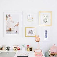 Did you catch my new office gallery wall on @glitterguide yesterday? I wanted a simple + special collection, and @framebridge helped make it happen! I love the fun reminders to  by @delbarrmoradi #framebridge #gallerywall #glitterguide