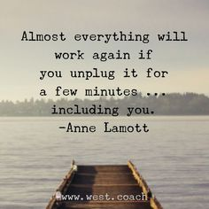 """Almost everything will work again if you unplug it for a few minutes...including you."" -Anne Lamott"