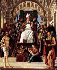 VIVARINI Alvise (Venezia, tra il 1442 e il 1453 – Venezia, tra il 1503 e il 1505)  - Altarpiece of St Ambrose (detail)  #TuscanyAgriturismoGiratola