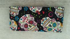 Sugar Skull, Day of the Dead, Dia de los Muertos fabric checkbook cover by ScootToBoot on Etsy