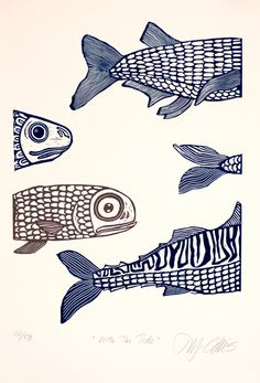 linocut print With the tide fish in blue and beige by artcanbefun, $75.00