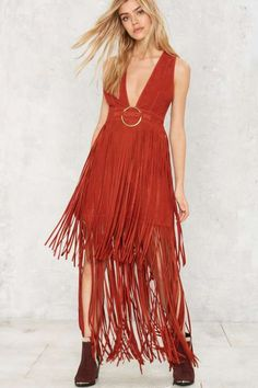 Nasty Gal Shawn Suede Dress - 70's Festival