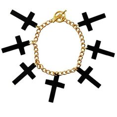 Black Gold Jerem Cross Bracelet ($15) ❤ liked on Polyvore featuring jewelry, bracelets, accessories, vintage bangle, vintage jewelry, gold jewellery, gold jewelry and gold bangles