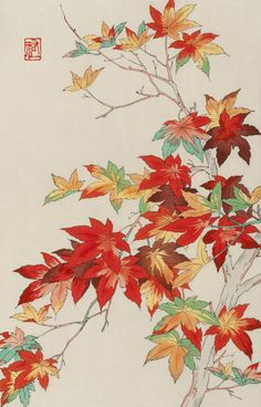 "Shodo Kawarazaki (Japan, 1889-1973) - ""Maple"" - Woodblock print (20th century)"