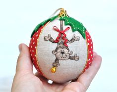 Here is your personalized Babys first Christmas ornament! Adorable keepsake for magical time when every detail matters. This bauble is perfect babys first Christmas gift idea - unique, safe and memorable. ✄✄✄✄✄✄✄✄✄✄✄✄✄✄✄✄✄✄✄✄✄✄✄✄  This monkey Christmas ornament is sewed from the highest quality cotton and linen fabrics with a soft filler inside. One sector is decorated with the miniature hand embroidered Monkey. Another sector can be personalized with babys name and birth date (or any other…