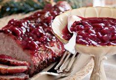 Roast Pork with Cherry Sauce Pork Recipes, Fish Recipes, Cherry Sauce Recipe, Holiday Dinner, Family Holiday, Tarter Sauce, Sweet Tarts, Pork Roast, Meatloaf