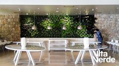 Finishing touches! Beautiful vertical #garden designed for the Sani Club.    Technology of Jardines Verticales Paisajismo Urbano  #vitaverde_gr #notyourordinaryspace #greenwall #PaisajismoUrbano