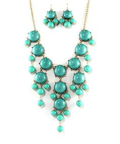 Look at this #zulilyfind! Gold & Turquoise Bauble Bib Necklace & Earrings by MOA International Corp #zulilyfinds