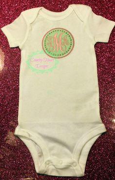 Monogram   Baby Onesie Toddler Shirt by CountryHeartDesignz