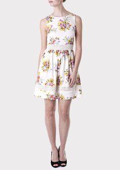 Cream Floral Summer Dress