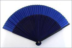 Blue chic wood fan Éventail bleu/Indigo bois voile