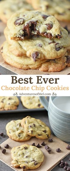 Chocolate Chip Cookies are my favorite dessert, and this easy recipe is the best. Chocolate Chip Cookies are my favorite dessert, and this easy recipe is the best chocolate chip cookie recipe ever! Make homemade chewy cookies from s. Fluffy Chocolate Chip Cookies, Best Chocolate Chip Cookie Recipe Ever, Homemade Chocolate Chips, Easy Chocolate Chip Cookies, Chocolate Desserts, Cookies Recipe Chewy, Chocolatechip Cookies Recipe, Domino Cookie Recipe, Desert Recipes