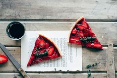 Roasted Strawberry & Thyme Tart - Two Loves Studio Roasted Strawberries, Strawberries And Cream, Strawberry Filling, Tart Recipes, Sweet Recipes, Cooking Recipes, Budget Recipes, Sweet Pie, Sweet Tarts