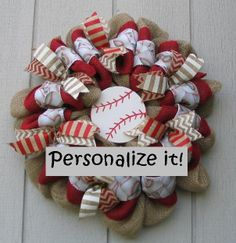 Personalized Baseball Theme Burlap Wall Door by wreathswithclasses, $65.00