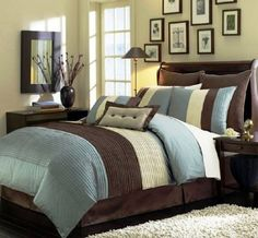 Amazon.com: 8 Pieces Beige, Blue and Brown Stripe Comforter (104x92) Bed-in-a-bag Set King Size Bedding: Home & Kitchen