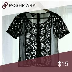 Beautifully Detailed Embroidered Lace Top Beautifully detailed embroidered lace   Completely sheer back   Detailed with buttons all the way down the back  Size   Labeled as x-small, but would fit a regular size small American Eagle Tops