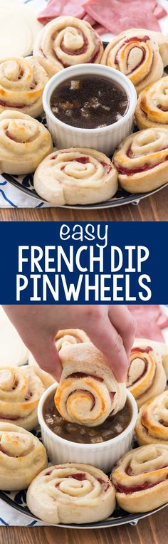 French Dip Pinwheels - this easy appetizer recipe is pizza dough wrapped around roast beef and provolone cheese. The perfect hand held food for appetizers, game day food, or an easy dinner. The sauce is the best part! Pinwheel Sandwiches, Pinwheel Appetizers, Make Ahead Appetizers, Pinwheel Recipes, Sandwiches For Lunch, Easy Appetizer Recipes, Dessert Recipes, Sandwich Recipes, Lunch Recipes