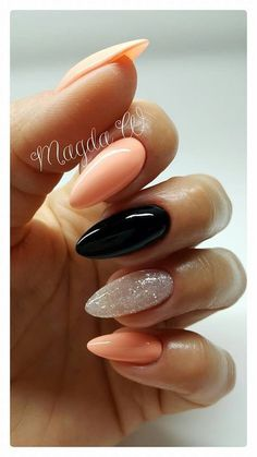 Stunning Designs for Almond Nails You Won't Resist; almond nails long or s. - Stunning Designs for Almond Nails You Won't Resist; almond nails long or short; Manicure Nail Designs, Nail Manicure, Nail Art Designs, Gel Nail, Orange Nail Designs, Pedicure Designs, Shellac, Orange Nails, Pink Nails