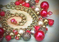 Vintage Rhinestone Charm Bracelet Cranberry Scarlet by RewElliott, $44.00