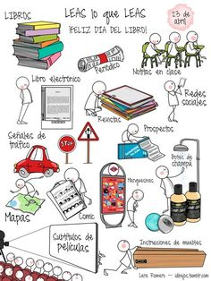 Leas lo que leas ¡Feliz Día del Libro!                                                                                                                                                                                 Más Spanish Lessons, Teaching Spanish, Books To Read, My Books, Visual Map, Reading Projects, Sketch Notes, Coffee And Books, Love Book