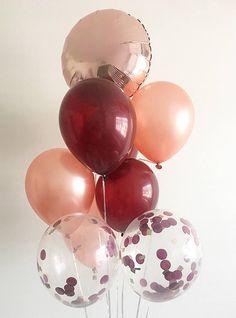 Burgundy Rose Gold Latex Confetti Balloons Rose Gold Burgundy