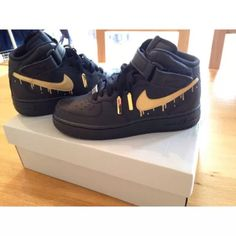 black gold drip af1s air force one high tops