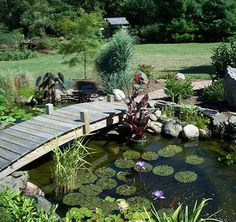 32 Minimalist Fish Pond Design Ideas, The region of the pond's wall is glass, which means you can realize your pet fish clearly. Besides beautify your home, fish pond has many different ad. Outdoor Ponds, Ponds Backyard, Garden Ponds, Backyard Waterfalls, Outdoor Fountains, Gravel Garden, Pond Bridge, Garden Bridge, Small Fish Pond