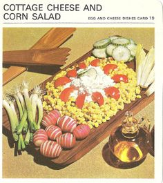 Cottage Cheese and Corn Salad (Marguerite Patten's Recipe Cards, 1967)