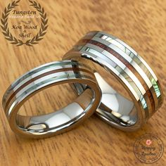 Tungsten Wedding Band Set with Mother of Pearl Abalone Pau'a Shell and Hawaiian Koa Wood (Pair of 6 & 8mm Widths, Flat Shape, Comfort Fit) by HappyLaulea on Etsy https://www.etsy.com/listing/246397923/tungsten-wedding-band-set-with-mother-of
