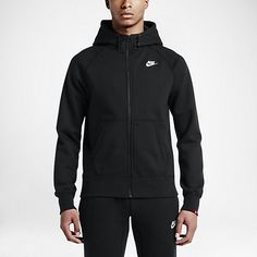 WARMTH AND ATHLETIC STYLE The Nike AW77 Fleece Full-Zip Men's Hoodie is made with a soft cotton blend and raglan sleeves for comfort and a classic fit that moves with you. Benefits Lined multi-panel hood that zips up to the chin with drawcord for warmth and protection from the elements Brushed interior for warmth and comfort Raglan sleeves for natural range of motion Rib cuffs and hem for a snug, comfortable fit Embroidered Nike corporate logo for athletic style Product Details Kangaroo…