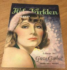 Greta Garbo on the cover of 1933 Swedish magazine Hela Varlden