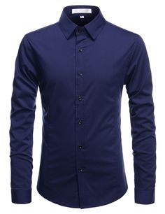 (ALLS1001) TheLees Mens Slim Fit Super Stretchy Wrinkle Free Longsleeve Shirts