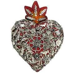 Small Red Heart with Silver Milagros