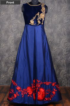 #Blue lovely #floor length #silk gown with resham thread work-GW102