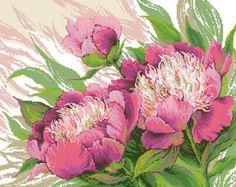 Cross stitch pattern Peonies needlepoint flowers embroidery