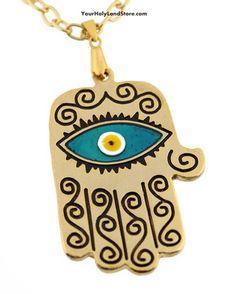 BIG KABBALAH HAND OF GOD PROTECTION NECKLACE #jewelry #jewish #judaica #necklace #kabbalah #evileye