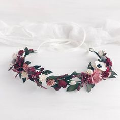 Burgundy Flower crown, Bridal crown, Deep red wedding crown, Burgundy floral crown, Burgundy headpie You are in the right place about beauty tips for Flower Crown Bride, Floral Crown Wedding, Bride Flowers, Rustic Flowers, Bridal Crown, Flowers In Hair, Wedding Flowers, Wedding Bouquets, Flower Hair Clips