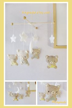 Teddy Bear Mobile, Baby Mobile, Neutral Mobile, Moon And Stars Cot Mobile    B For Bear Theme, Custom Mobile