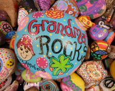 Jez4U Custom Hand painted Garden Rock for Grandma or mom Special Order