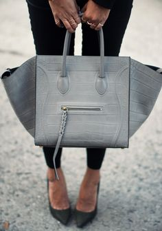Celine bag. This Gray trapeze bag by Celine is my absolute gave bag like, everrr.