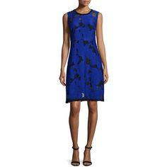 Elie Tahari Ophelia Floral Fil Coupe Dress ($298) ❤ liked on Polyvore featuring dresses, elie tahari dresses, blue floral print dress, floral day dress, sleeveless floral dress and floral fit-and-flare dresses