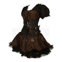 Undergroundstore - Steampunk Dress Black / Brown Steampunk Dress Black... ($100) ❤ liked on Polyvore featuring dresses, steampunk, vestidos, short dresses, brown dress, mini dress, steam punk dress and steampunk dress