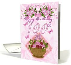 100th Birthday Special Lady, Roses And Flowers - 100th Birthday card